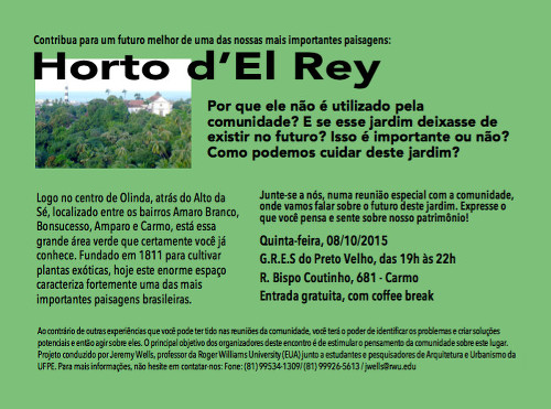 Advertising flyer for the first Horto d'El Rey community workshop meeting